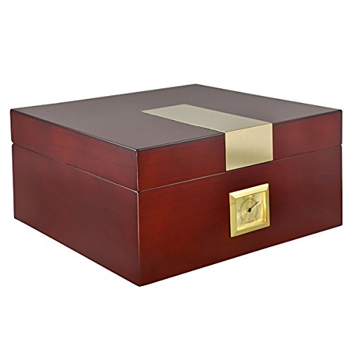 La Cubana Cherry Wooden Cigar Humidor with Golden Metal Holds up to 50 Cigars