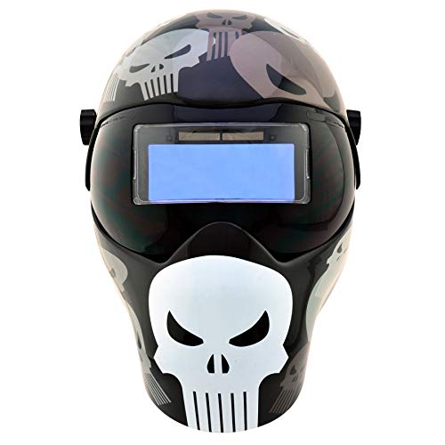 Save Phace Auto Darkening Welding Helmet Punisher EFP F-Series - Ear to Ear Vision Welder Hood Grinding Mask with 4.3 x 2 Inch Adjustable ADF for SMAC/MIG/TIG - 2 Sensors Solar Powered Iowa