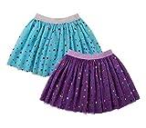 DaniChins Girl's Layered Tutu Skirt Tulle Princess Skirt (Purple, Blue, 3)