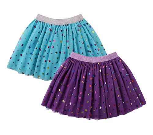DaniChins Girl's Layered Tutu Skirt Tulle Princess Skirt (Purple, Blue, 5)