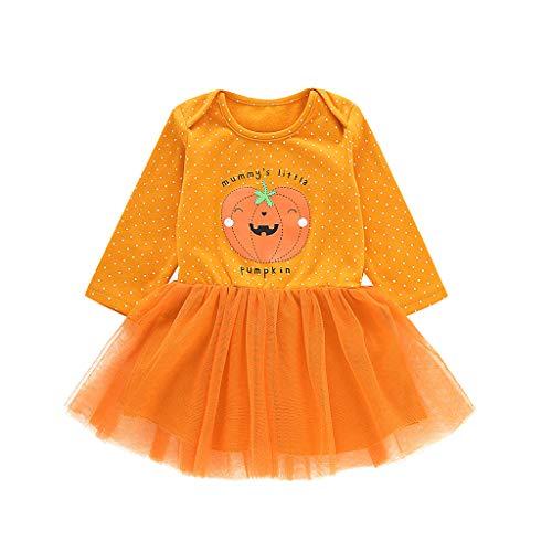 Orange Tutu Kleider für Kleinkinder Baby Kürbis Bedruckt Lange Ärmel für Halloween Party, Kinder Mädchen Kleid für Babys Geburtstagsgeschenk, Größe 70–100 Gr. 110 cm, Orange
