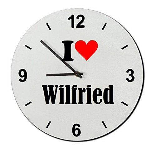 Druckerlebnis24 Glasuhr I Love Wilfried eine tolle Geschenkidee die von Herzen kommt| Wanduhr| Geschenktipp: Weihnachten Jahrestag Geburtstag Lieblingsmensch