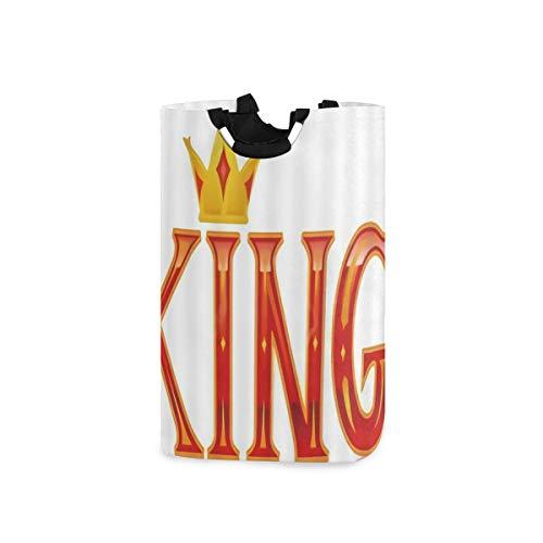 LOSNINA Wäschesammler Wäschekorb Faltbarer Aufbewahrungskorb,Graffiti-König mit großer künstlerischer Schrift und Krone über fantasievollem Design,Wäschesack - Wäschekörbe - Laundry Baskets