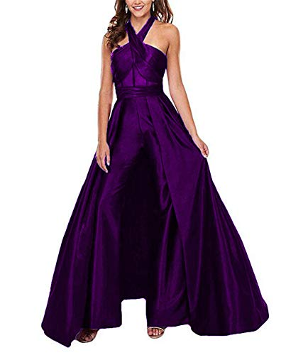 VeraQueen Women's Halter Sleeveless Prom Dresses Jumpsuit Satin Backless Sweep Train Pants Suits Evening Gowns Grape