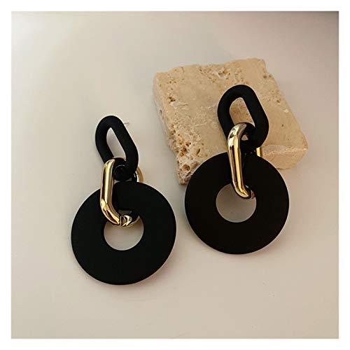 CQHUI S925 Aguja Fashion Jewelry Pendientes Drop Pendientes Nuevo Diseño Resin Plating Golden Matte Pendientes Negros para Mujeres Lady Party Regalos (Metal Color : 5)