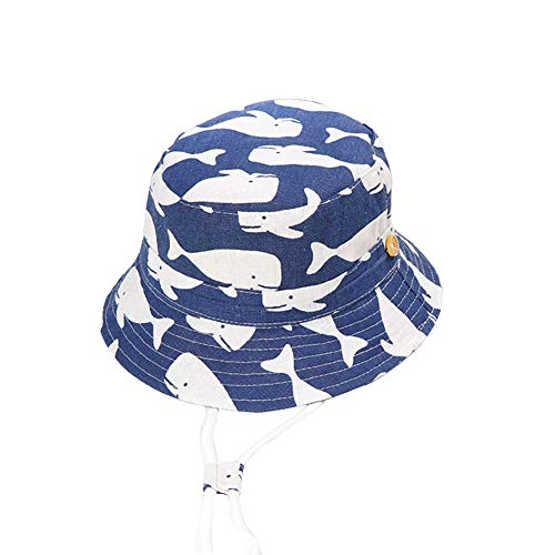 XQxiqi689sy Cappello da Sole per Bambini Cartone Animato Stampa Animalier Tesa Larga Cappello da Pescatore Anti-UV per Pescatore Balena Blu Scuro LNone