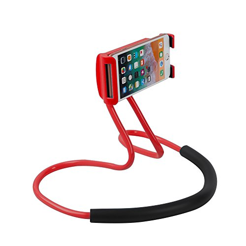 Flexible Cell Phone Holder Expands - Universal Lazy Phone Holder DIY Free Rotating Stand on Table Smart Multiple Functions Mobile Phone Mount Stand Holder Red