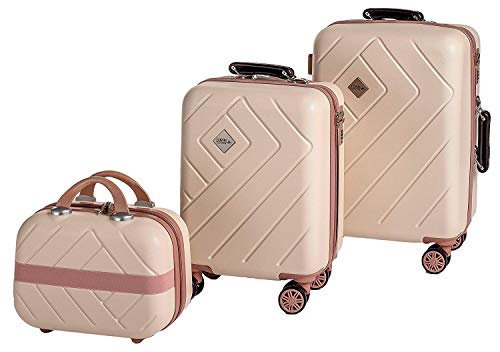 Enrico Coveri Moving Set Due Trolley + Beauty Case da Viaggio, Valigie Rigide ABS Beige e Rosa in Due Dimensioni