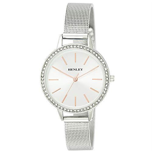 Henley dames Diamante Mesh Armband Horloge met Zilveren Wijzerplaat H07296.14