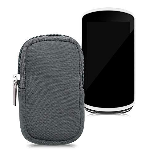 kwmobile Custodia Protettiva compatibile con Garmin Edge 1030/1030 Plus / 1000 - Astuccio in Neoprene Chiusura Zip - Soft Pouch per Bike GPS grigio