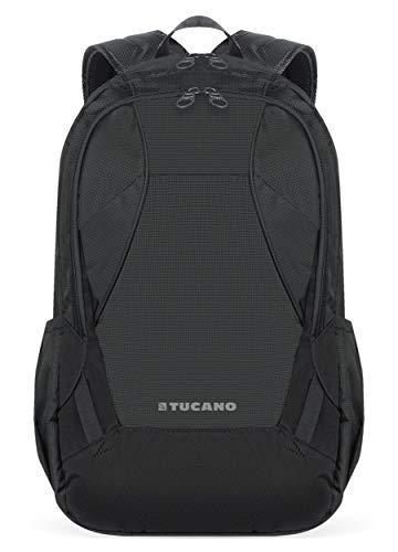 Tucano Notebook rugzak, 39,6 cm (15,6 inch), compatibel met MacBook Pro 40,6 cm (16 inch), powerbank / smartphone tas, ideaal voor sport, werk, reizen, zwart