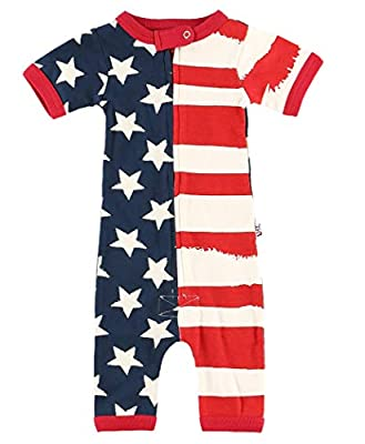 Lazy One Baby Zip-Up Pajama Rompers, Short-Sleeve Baby Bodysuits, 6–18 Months, Flag, USA (America Stars and Stripes, 12 MO)