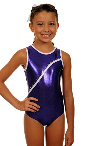 TumbleWear Little Girl Maillot de Bree | Morado Rhinestone-Child
