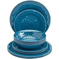Tabletops Gallery 12-Piece Ocean Blue Melamine Dinnerware Set