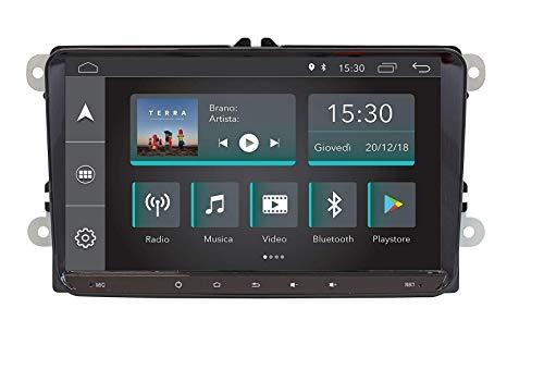 Jfsound JF-039W6A-X DAB Autoradio compatibile con Volkswagen Seat Skoda SOUND SYSTEM CUSTOM FIT Quadcore 9' pollici Android 8.0 GPS Bluetooth USB SD