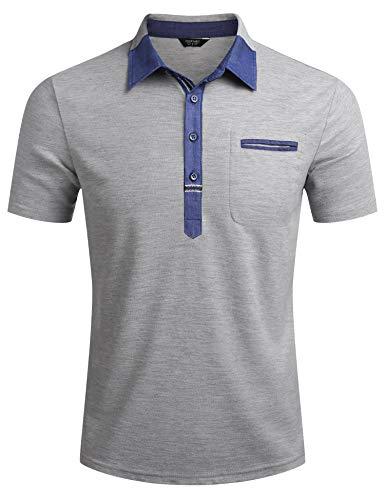Kurzarm Polo Shirt Herren Polohemd Slim Fit Einfarig Basic Tshirt Sommer Poloshirt Mit Brusttasche Grau M