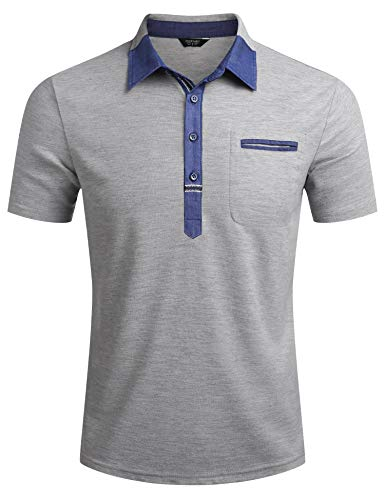 COOFANDY Kurzarm Herren Poloshirt Einfarig Basic Polohemd Slim Fit Poloshirt Mit Brusttasche Sommer Tshirt