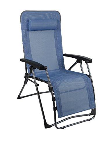 Westfield Skydiver Gartenliege mit Fussauflage, Gartenstuhl als Relax Hochlehner, Textilene Campingstuhl gepolstert, Liege stufenlos verstellbar, Stuhl klappbar, max 120kg