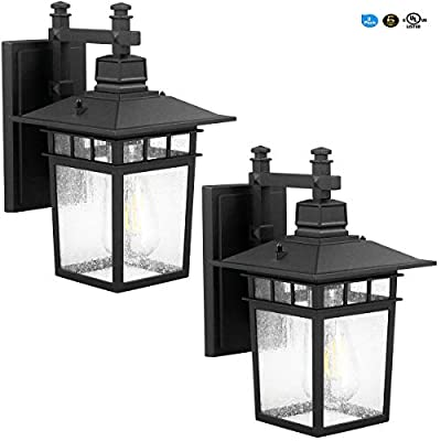 LED Wall Lantern, Wall Sconce as Porch Light, (100-150W Equivalent), 1100 Lumen, Aluminum Housing Plus Glass, Matte Finish, Outdoor Rated, (ST64 8W),Black for 2Pack 9244S