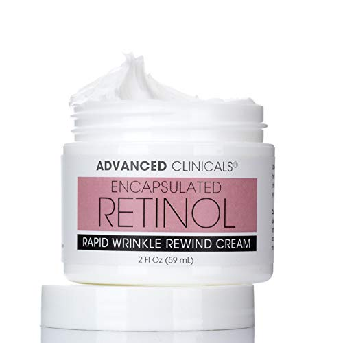 Encapsulated Retinol Anti-Wrinkle Cream Natural Face Lotion for Expression Lines, Crepey Skin, Large Pores, Uneven Skin Tone, Deep Wrinkles Hydrating Night Cream by Advanced Clinicals, 2 Fl. Oz.