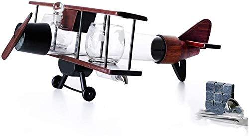 Juego de decantador de Whisky con Forma de avión con Estructura de Madera de Color café con contenedor de Botella de Vino Artesanal de Alto borosilicato Los Mejores Regalos para Padre y Esposo FA