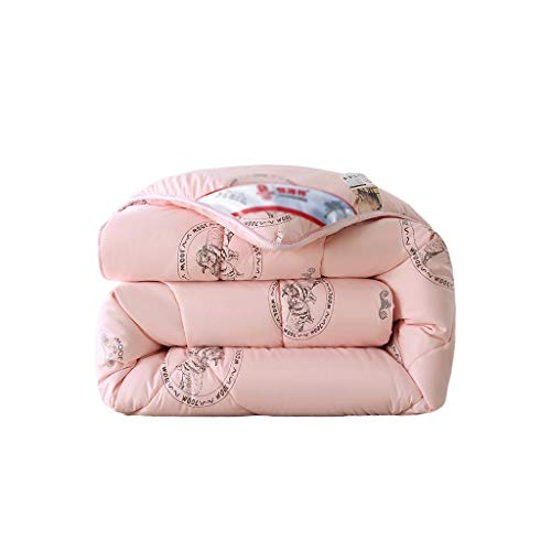 C-J-Xin Super Warm Winter Quilt, Thicken Double Quilt Solid Breathable Bed Linings Hotel Adult Individual Quilt Anti-fading Prevent Allergy Family quilts (Color : Pink, Size : 220 * 240CM-8KG)