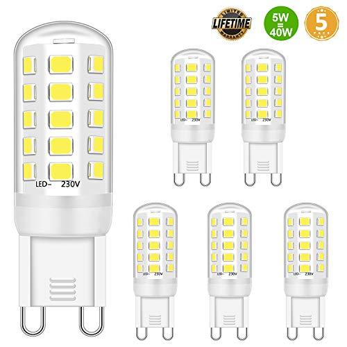 G9 LED Glühbirne 5W Entspricht 28W 33W 40W Halogenbirnen, G9 LED Glühbirne Kaltweiß 6000K, G9 LED Glühbirne, G9 Sockel LED Leuchten, Kein Flackern, Nicht dimmbar, 420lm, AC 220-240V, 5er-Pack