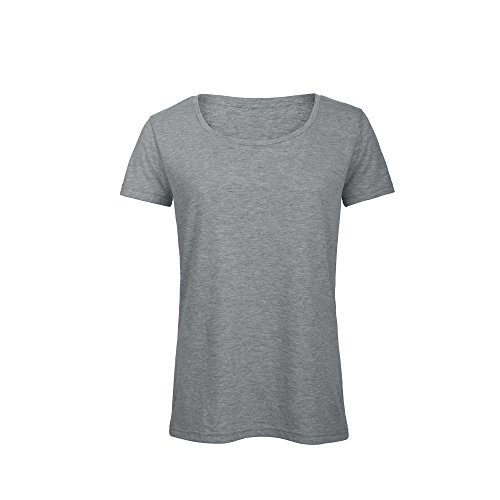 B&C - Camiseta de Manga Corta de algodón orgánico Triblend para Mujer (2XL) (Gris Claro Mezcla)