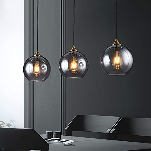 Table à manger moderne Suspension, 3-Flamming de boule en verre Lampe suspendue Hauteur réglable E27 Lustre for salle à manger Salon Chambre (Color : Smoky Gray-A)