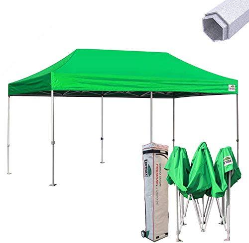 Eurmax Premium 10 x 20 EZ Pop up Canopy Tent Wedding Party Canopies Gazebo Shade Shelter Commercial Grade Bonus Wheeled Bag (Kelly Green)