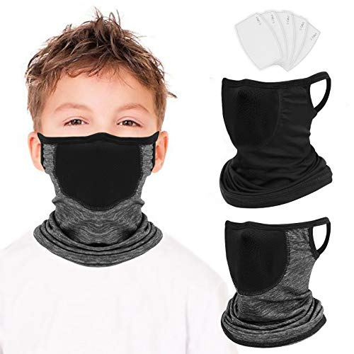 2 Pack Kids Neck Gaiter with Ear Loops Sun UV Protection Kids Bandana with Filter Unisex Face Shield Mask