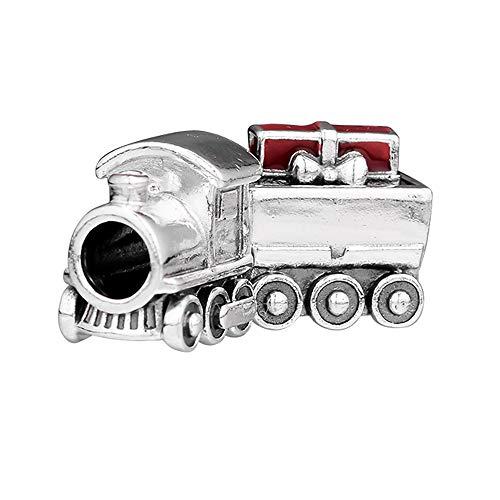 PANDOCCI 2018 Regalo di Natale Treno di Natale 925 Perline d'Argento Fai da Te Adatto per bracciali Pandora Originali Gioielli di Moda con ciondoli