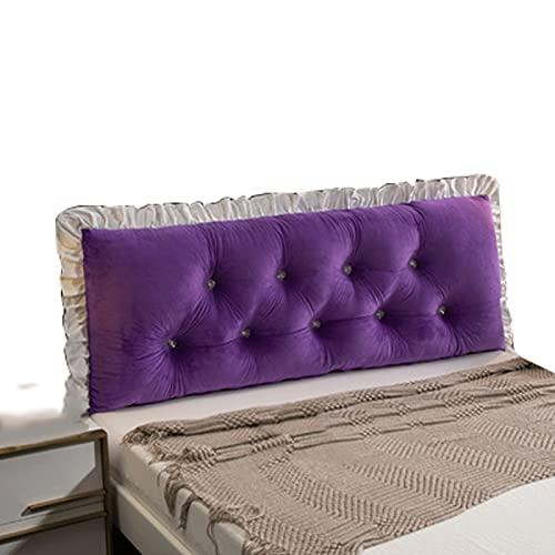 ZWDM Bedside Cushion Pads Cover Bed Wedges Backrest Waist Pad, Lumbar Support Pad Headboard Bedside Cushions (Color : Purple, Size : 80x60x20cm)