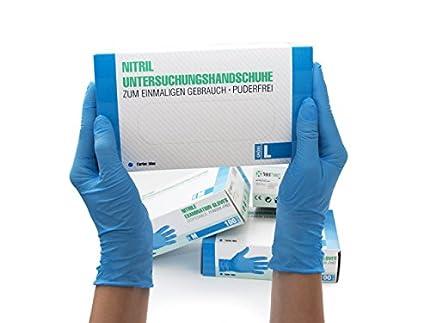 Guantes de nitrilo, 100 pcs caja (L, Azul), guantes de examen desechables, libres de látex, sin polvo, limpieza guantes, sanitarios para la cocina, cocina limpieza, limpieza seguridad manejo de alimen