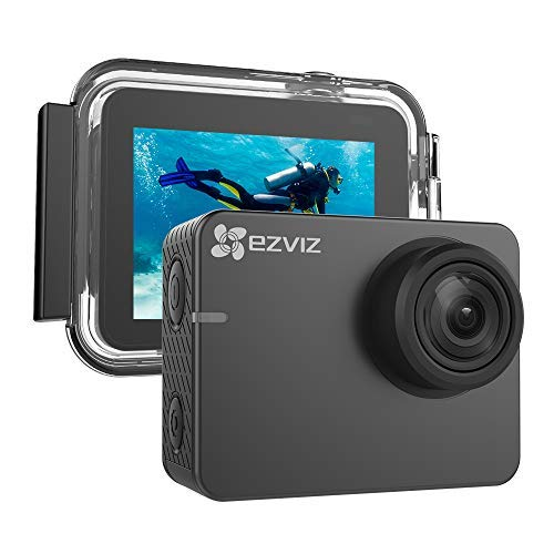 Ezviz S3 Sport Action Camera, resolutie 4K/24 fps of Full HD video, foto's tot 8 MP, touchscreen display, WiFi, Bluetooth 4.0, waterdichte beschermhoes en bevestigingsaccessoires inbegrepen, grijs