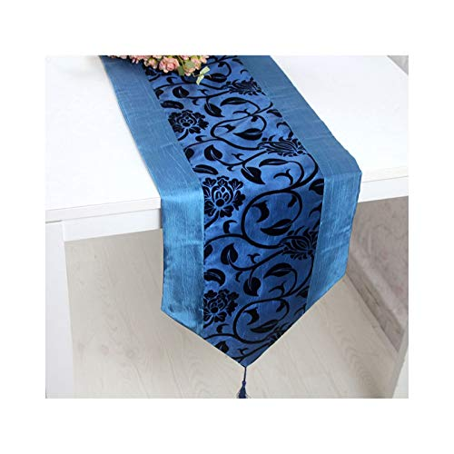 AueDsa Bandera de Mesa 30x195CM,Camino Mesa Comedor Decorativo Flores con Borlas Camino de Mesa Seda de Imitación Azul Marino