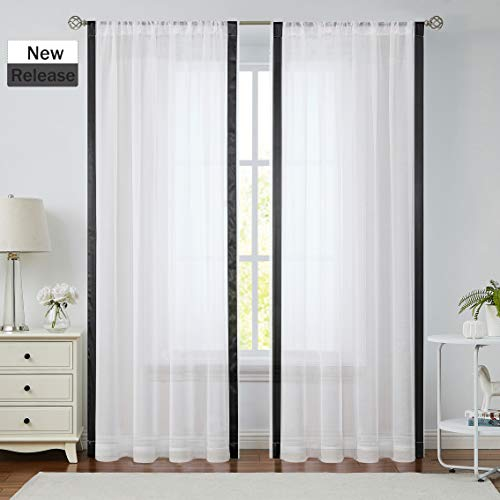 Jubilantex White and Black Sheer Curtain Panels for Living Room, Vertical Striped Linen Texture Farmhouse Color Block Semi Volie Rustic Rod Pocket Drapes 63 Inch Long for Bedroom, 2 Panels