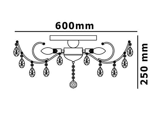 Strass Kristall Kronleuchter Deckenlampe Deckenleuchte Lüster Wohnzimmer Beleuchtung Kristallleuchte Wohnzimmerlampe klassisch XL 60cm 6xE14 Fassungen - 6