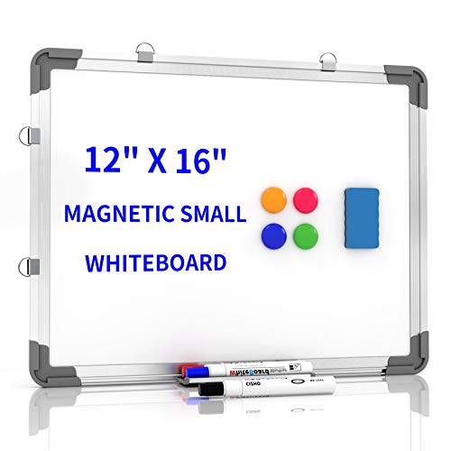 """Small Dry Erase White Board 12"""" x 16"""", Portable Magnetic Hanging Whiteboard for Wall -3 x Dry Erase Markers, 4 x Magnets, 1 x Eraser, Cubicle Memo Board for Kids, Home, Office, School (White)"""