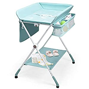 BABY JOY Baby Changing Table, Height Adjustable 4 in 1 Folding Diaper Station w/Detachable Wheels, Safety Belt, Storage Rack & Bag, Waterproof Pad, Portable Nursery Organizer for Infant Newborn, Aqua