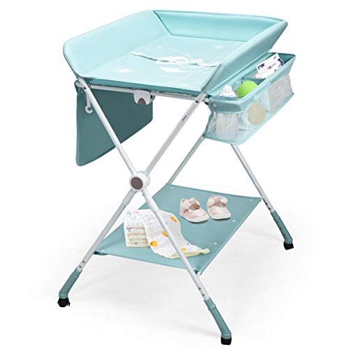 BABY JOY Baby Changing Table, Height Adjustable 4 in 1 Folding Diaper Station w/Lockable Wheels, Safety Belt, Storage Rack & Bag, Waterproof Pad, Portable Nursery Organizer for Infant Newborn (Aqua)