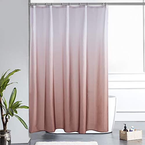 Furlinic Duschvorhang Badvorhang Textil aus Polyester Stoff Schimmelresistent Wasserdicht Waschbar für Dusche Badewanne 150x180 Weiß nach Taupe mit 10 Duschvorhangringen.