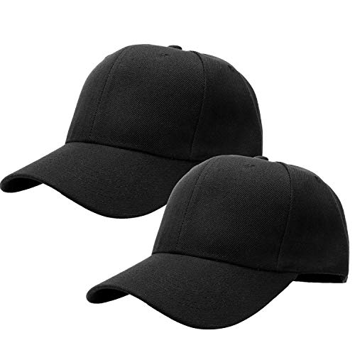 2pcs Baseball Cap for Men Women Adjustable Size for Outdoor Activities Black/Black