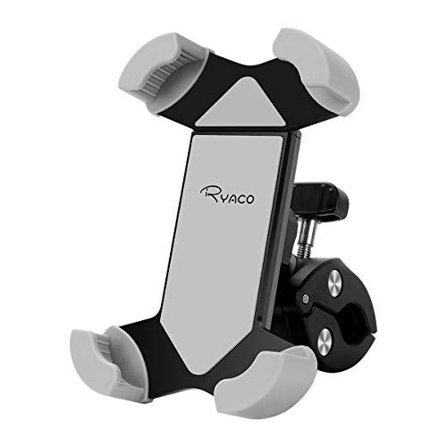 Ryaco Soporte para Teléfono De Bicicleta, Abrazadera de Facil Montaje con Soporte para Teléfono Antivibracióncon Rotación de 360° Compatible con iPhone 11 Pro MAX/XR/XS MAX/Se / 8/7 y Más