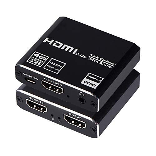 HDMI Splitter 1x2 with Audio Extractor, 1 in 2 Out Audio Video Distributor Box, HDMI 2.0b, HDCP 2.2, HDR, Support 4K@60Hz Ultra HD 3D for PS4, Xbox, STB, Blu-ray DVD Players Etc