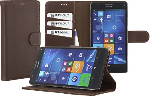 STILGUT Talis, Hülle mit Standfunktion & Kreditkartenfach passend für Microsoft Lumia 950 XL, Cognac Vintage