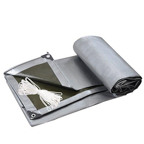 QIANGDA PVC Bâche Durable Tissu Doux Tissu De Pluie Anti-Vent Anti-Froid Pliage Facile -200g / M², Épaisseur 0.35mm, Argent + Armée Verte, 8 Tailles Optionnel