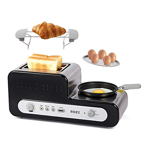 Toaster mit Pfanne Toaster 2 Scheiben mit 6 Bräunungsstufen,Automatik-Toaster für Gekochte Eier/Sandwich/Bagel, 1230W (Schwarz)-Rozi