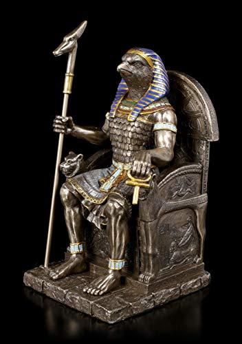 Unbekannt Egipcio Figura Dios Horus - Guerrero en el Trono Escultura, Figura Decorativa, H 22 cm, Bronceado & Coloreado, Serie: Studio Collection