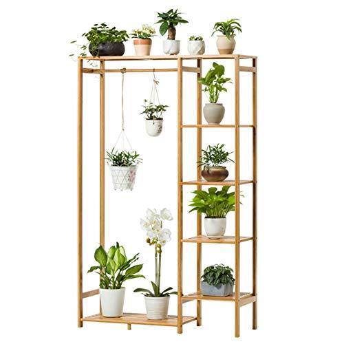 TIANQIZ Bodenstehender, Variabler Pflanzenständer, Ausstellungsstand für Bambusblumentöpfe,...